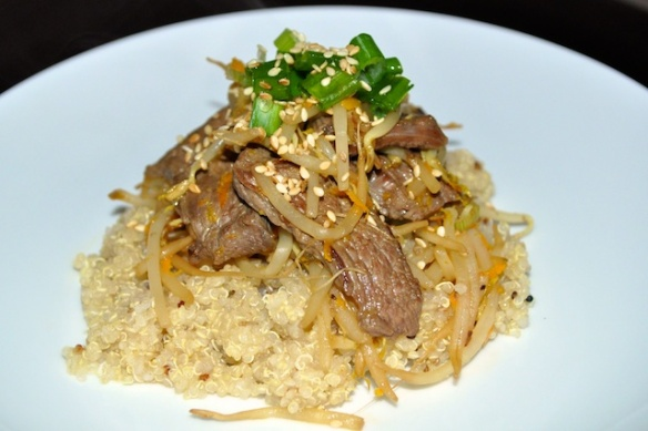 Seared Bean Sprouts with Beef and Sesame Orange Sauce by Wine Food Love